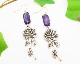 Silver Rose earrings, Rosy shape dangle, Purple Boho glass pendant, Nature gift, Spring birth