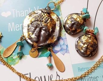 e74671eeb1 Gioielli ornamento nero Buddha foglia oro-orecchini e collana-testa di  Buddha tibetano lunga collana Zen buddista yoga