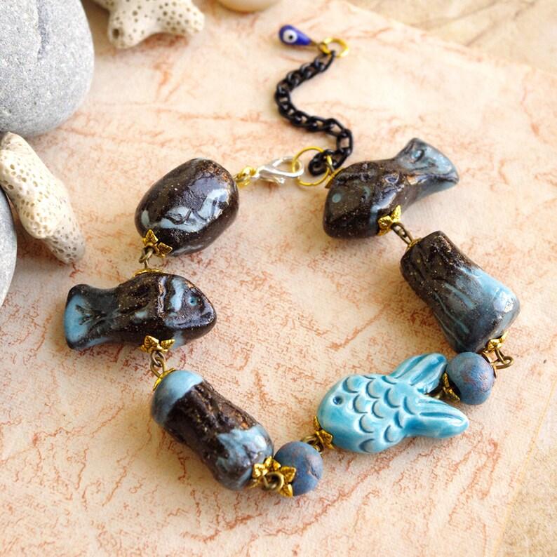 Ceramic bracelet  Fish  Blue black / artisan beads/ image 0