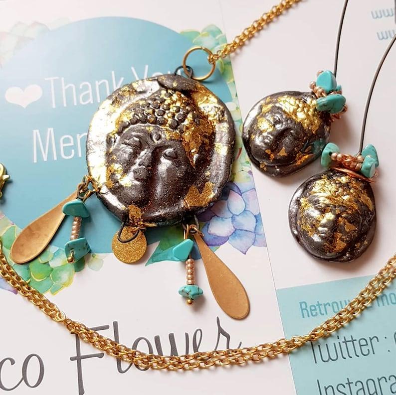 Gold Black Buddha jewelry set  earrings necklace  bouddha image 0