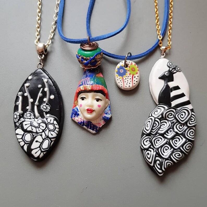 Graphic motif pendant / Various necklace / Floral / Woman Face image 0