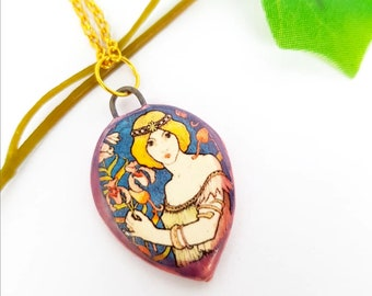 Medieval princess necklace, lady of the lake pendant, ceramic pendant, medieval jewelry, magic jewelry, Fairy Vivian, blonde woman necklace