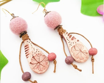 Dusty Pink Fossil Leaf earrings, Foliage Rustic Nature jewelry