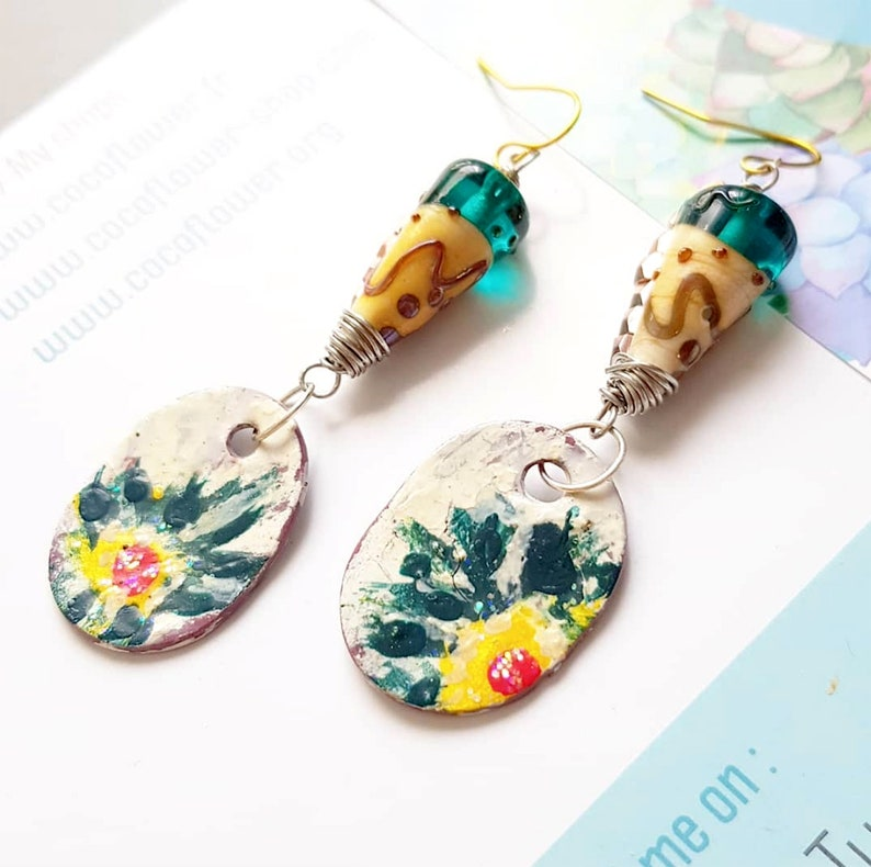Lampwork earrings  Sunflower  Clay pendant / Hand painted / image 0