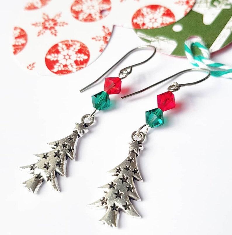 Christmas tree earrings / christmas jewelry for women / image 0