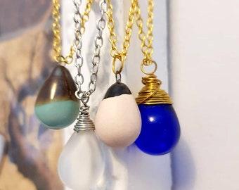 Drop necklace, glass drop pendant, ceramic teardrop pendant,   wire wrapped jewelry handmade, simple minimalist jewelry