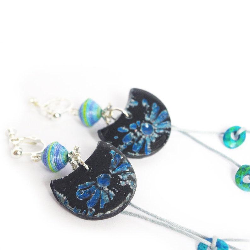 Clip on earrings  Shibori  Indigo Blue / Polymer Clay / image 0