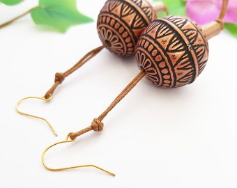 Chunky earrings, ethnic jewelry, Large round pearl earrings, ball dangle, Brown engraved sphere pendants