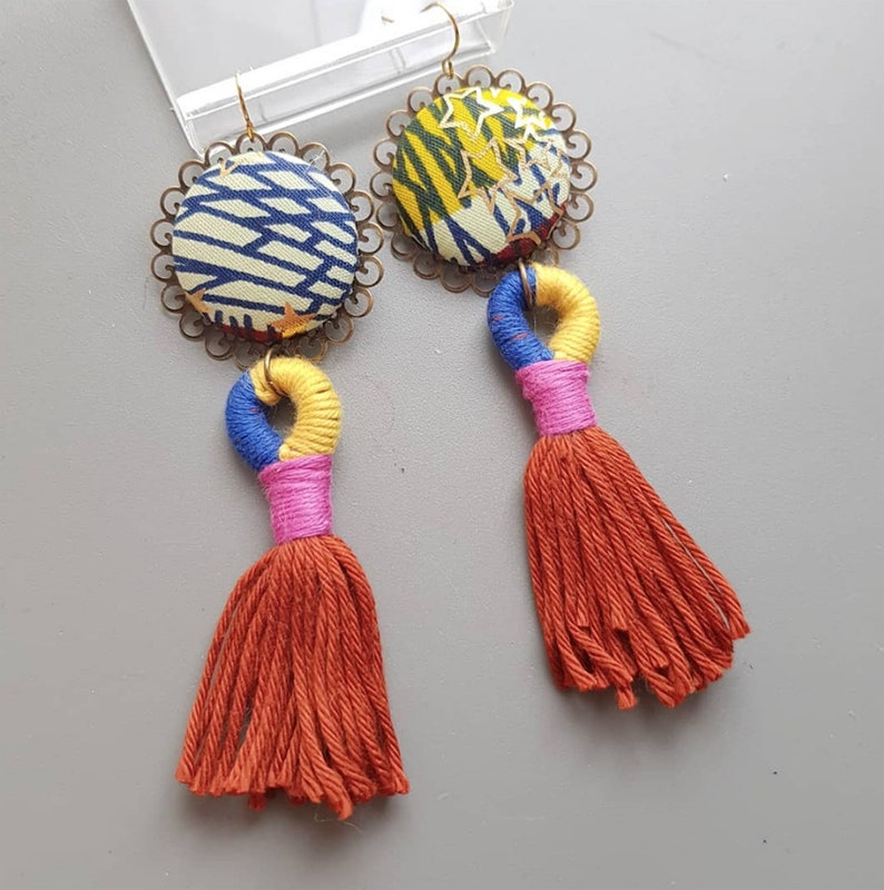 African earrings  tassel  long  Wax with golden stars  image 0