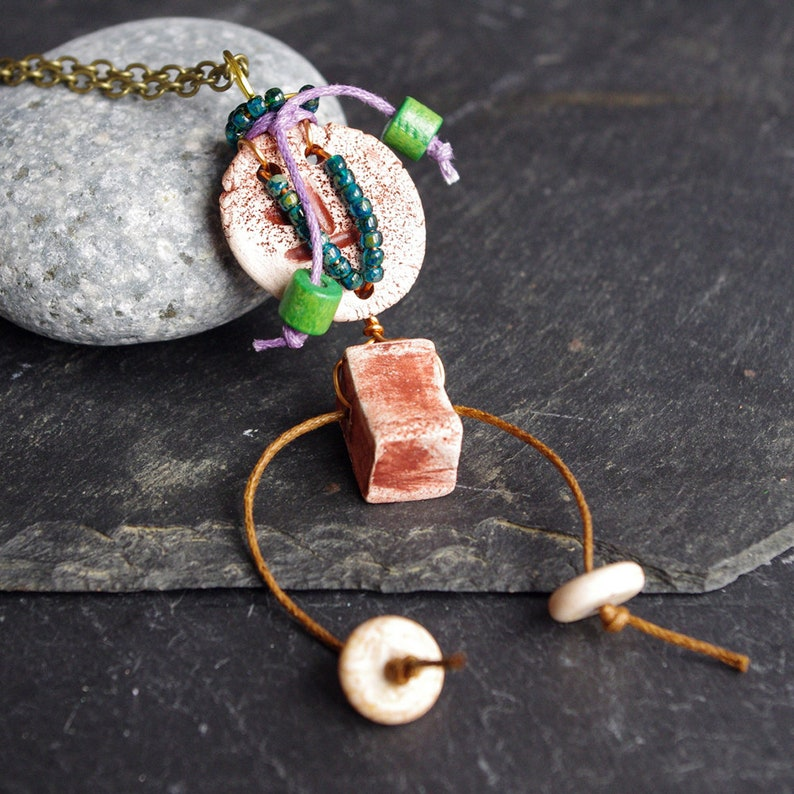 Boho chic necklace primitive amulet long pendant XXL ethnic image 0
