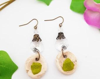 handmade jewelry crystal, ceramic earrings, clear earrings, raw jewelry, bohemian jewellery