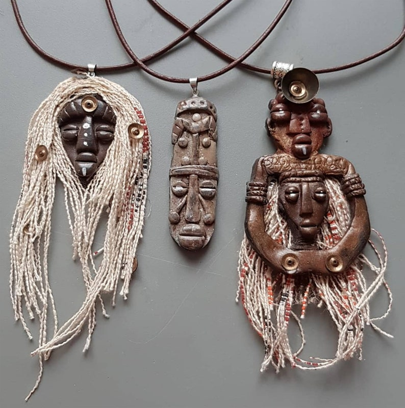 African Mask pendant Totem necklace Artisan Clay Miniature image 0