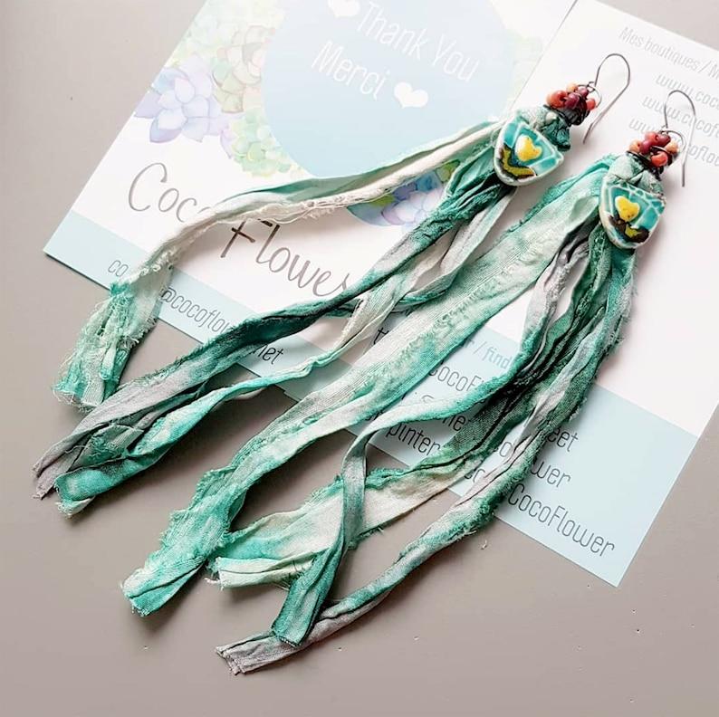 gift earrings for her  Extra Long Ribbon XXL tassel  Mint image 0