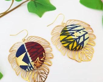 African fabric earrings, Gold Monstera earrings, Palm Tree, tropical plants, Wax Ankara jewelry