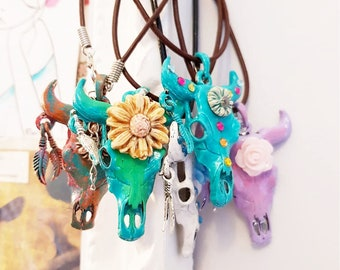 bull skull necklace, bull necklace, western necklaces for women, cow skull necklace, faux taxidermy, buffalo pendant, southwestern, cowgirl