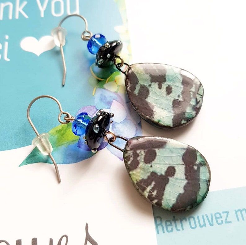 Butterfly wing earrings   Insect jewelry  Lampwork and image 0