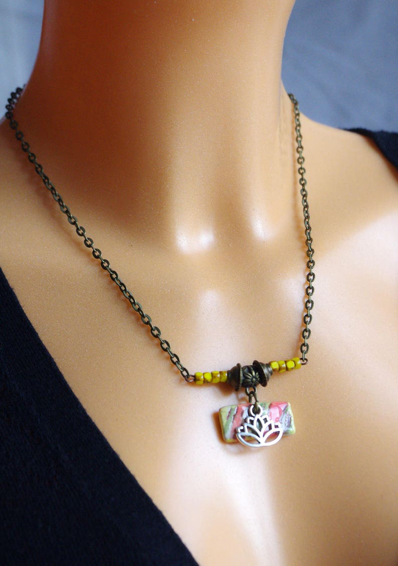 Yellow Lotus necklace with Czech glass beads and Artisan image 0