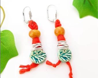 Orange turquoise crochet earrings with handmade ceramic beads