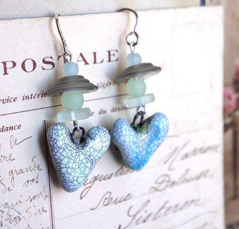 Lampwork earrings  Heart  Ceramic / Gray / Seaglass bead / image 0