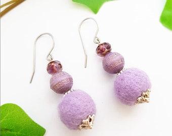 Purple Lavender earrings, felted wool round bead earring, ball sphere earrings, felt jewelry, romantic woman jewelry, textile dangle