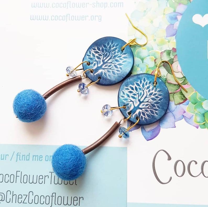 Spiritual woman gift Tree of life earrings Blue Magical image 0