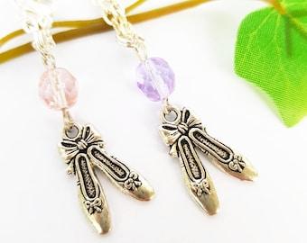 Ballet flats necklace, Ballerina pendant, Opera Classic Dancer dance, Silver pendant, Pink or Purple