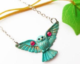 Owl Bib necklace, Autumn Harvest Thanksgiving gift,  Patina Metal Bird pendant, Woodland Forest Animal lover
