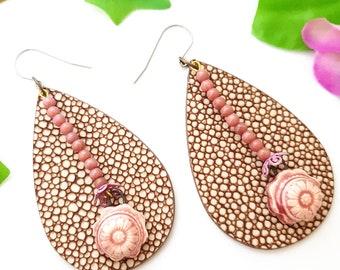 Chunky faux leather earrings, Pastel Pink stone beaded rhodonite earrings, Large tear drop, big oversized xxl
