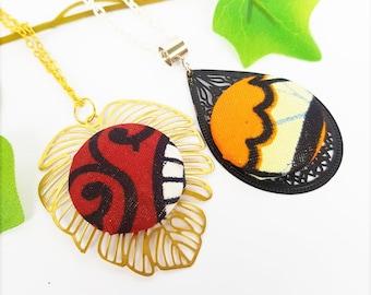African fabric pendant Wax necklace, Monstera pendant, Drop charm, Ankara jewelry