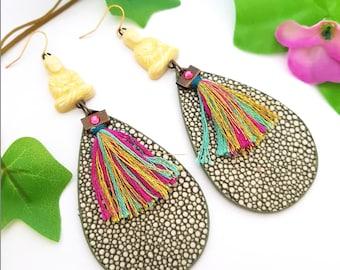 Buddha earrings - Large Zen dangle - Chunky Hippie chic jewelry