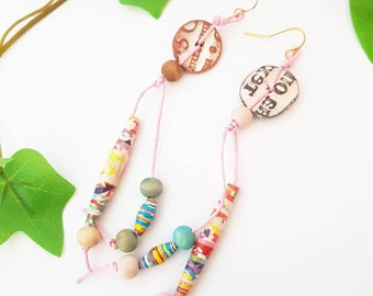 Long Donut coin earrings with lettering, wood and ceramic paper dangle, word earrings, teacher gift