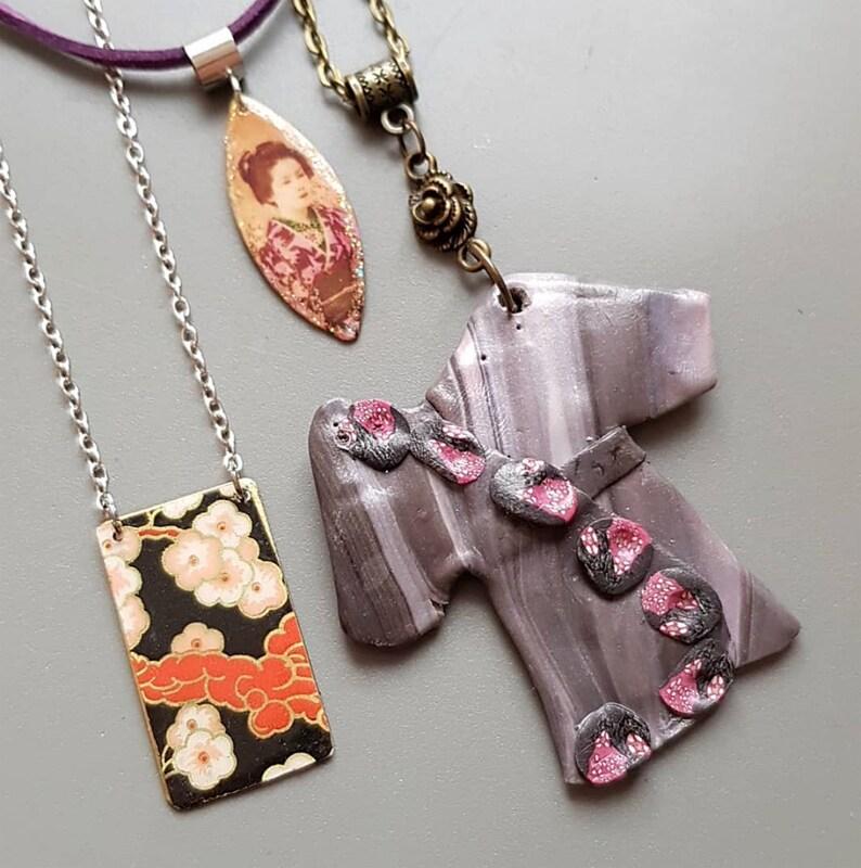 Asia sweetness necklace  Sakura Geisha Kimono pendant  asian image 0