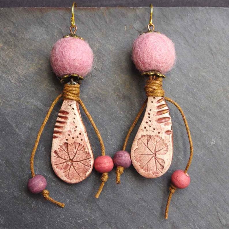 rustic earrings for women blush pink earrings felt wool image 0