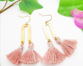 U shape earring, Arch earrings, Modern trendy jewelry, Gold brass boho earrings, Pink pompom fringe