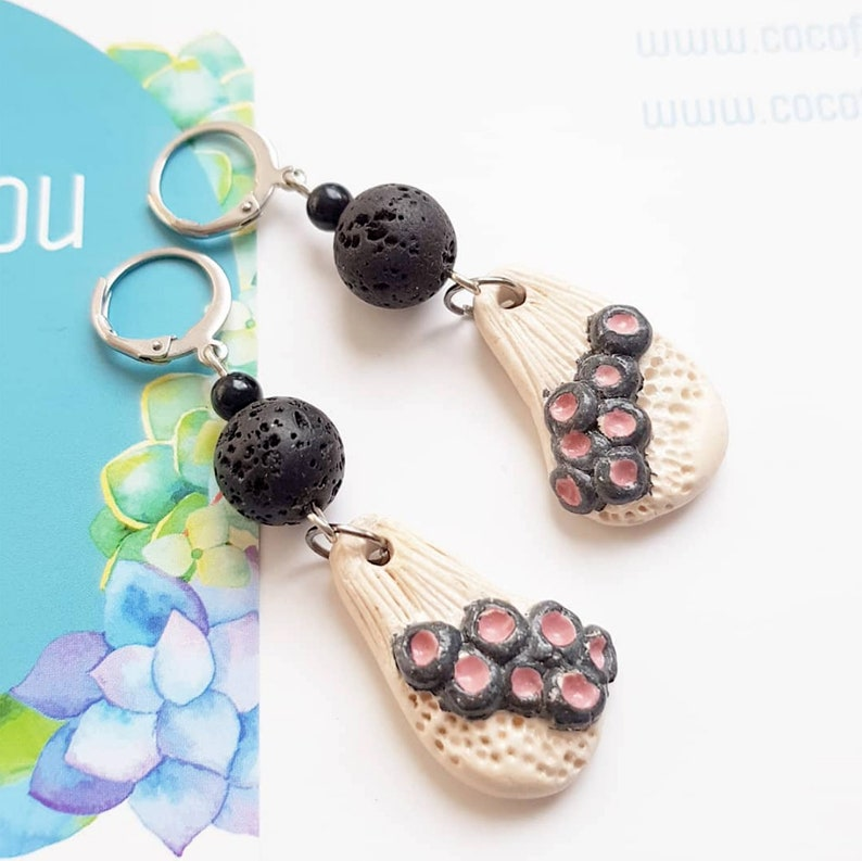 Black Lava and coral earrings  Organic bubble jewelry  image 0