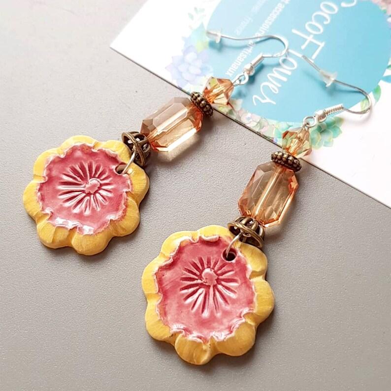 Ceramic earrings  flower dangle  Yellow Orange / Clear beads image 0