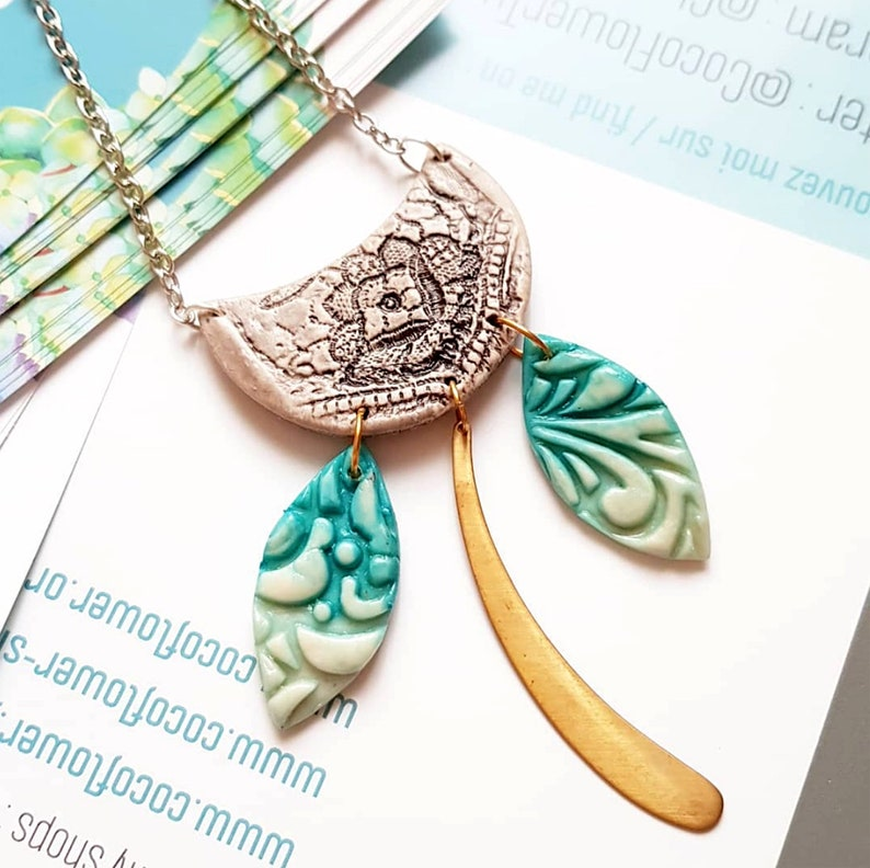 Half Moon necklace  Bohemian pendant  Turquoise Grey / image 0