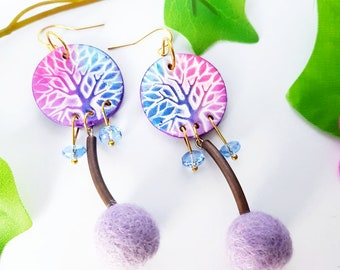 Pink Life Tree earrings, Flet earring, Ball dangle, Long hoop earring, Nature jewelry, Magic gift