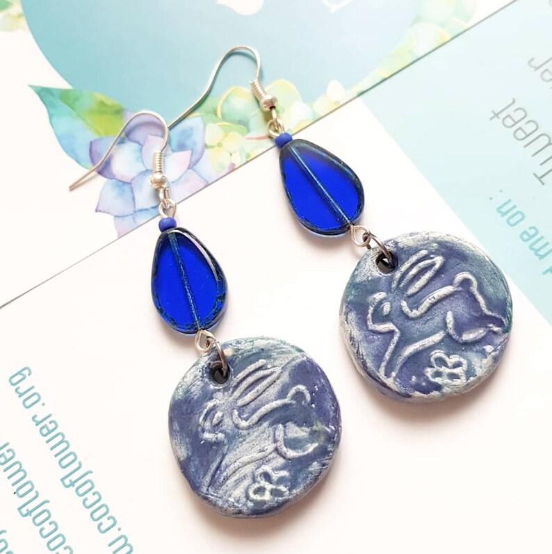 bunny earrings  indigo Blue  cute / kawaii / rabbit / wild image 0