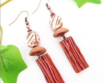 Fall Autumn jewelry, Wood effect earrings, Forest Woodland dangle, Artisan ceramic and clay