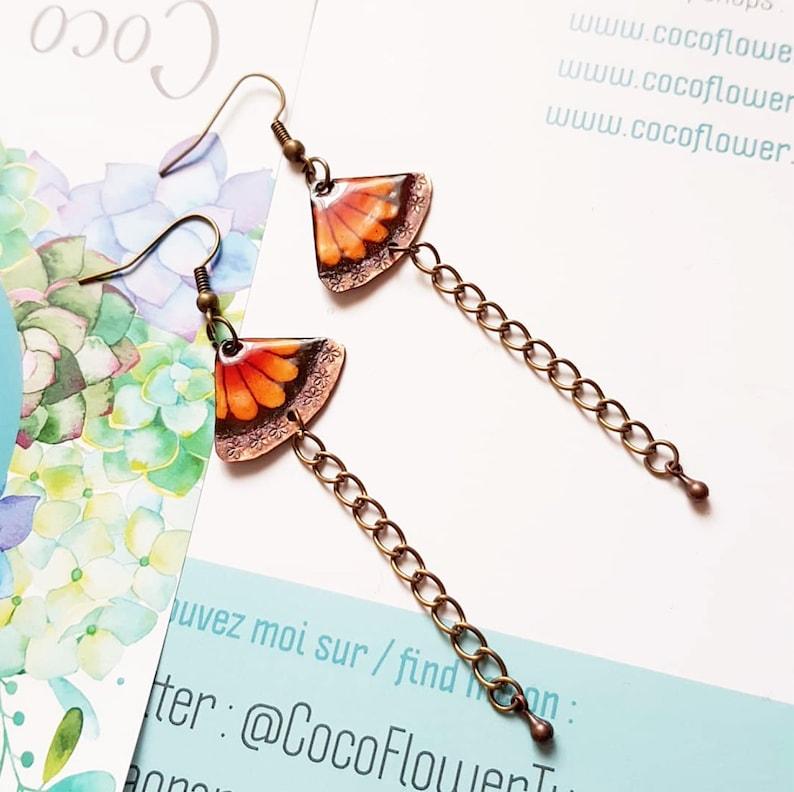 Enamel copper earrings  Butterfly motif  triangle shaped / image 0