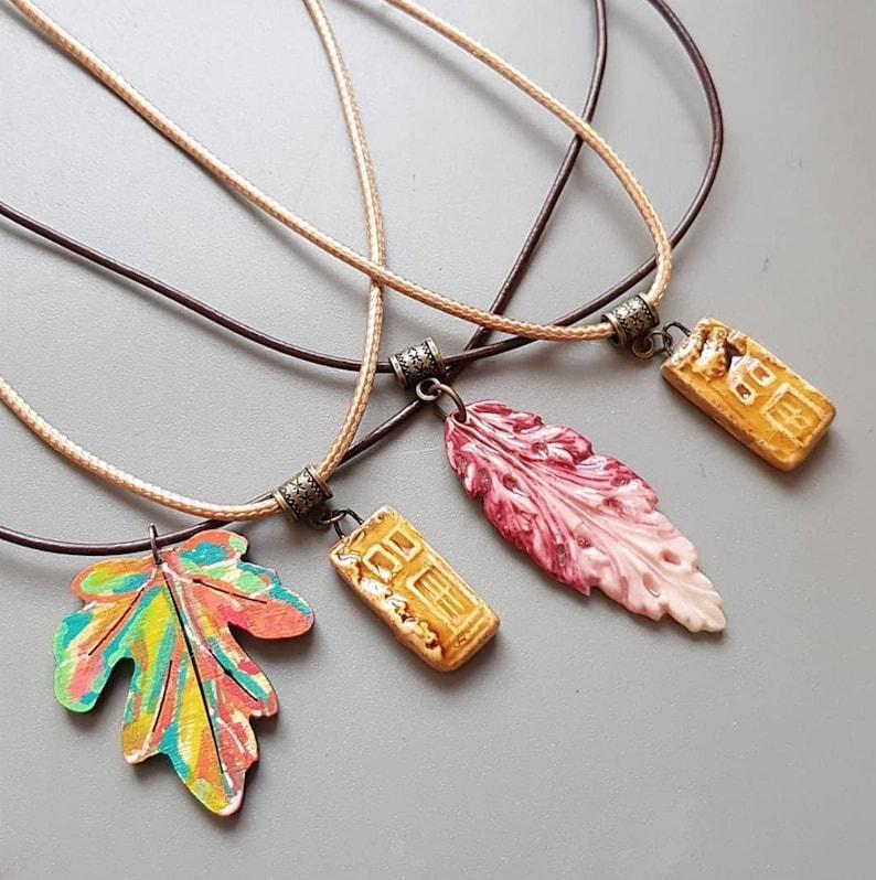 Autumn necklace Fall pendant  wood leaf  clay leaf  ceramic image 0