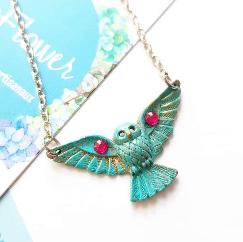 Metal necklace  Owl  bib / patina verdigris /silver tone image 0