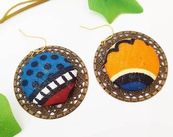 African fabric earrings for women, Wax earrings, Ankara jewelry