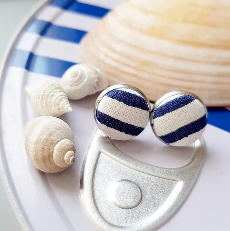 Stud earrings Navy Blue White Stripe Striped Nautical Beach image 0