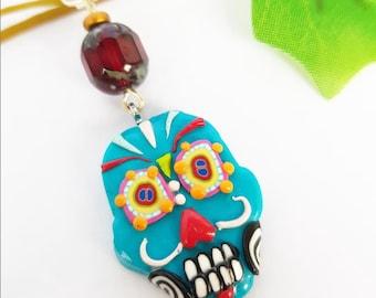 Halloween Sugar Skull necklace, Mexican Calavera pendant, Polymer clay jewelry