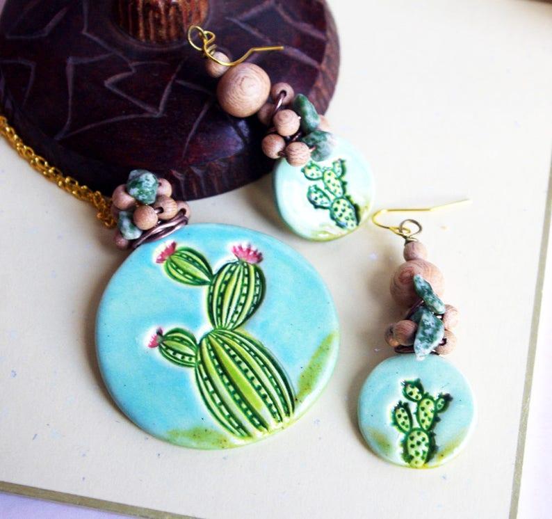 Cactus Jewelry set  Large Round pendant Succulent earrings image 0