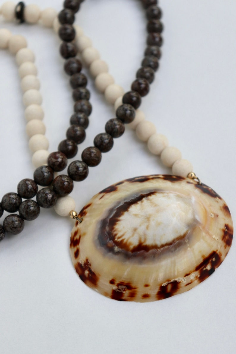 Riverstone beads Boho necklace Fossil beads Long beaded necklace with limpet sea shell Mother/'s Day Brown jasper Long necklace