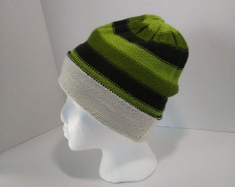 100% Alpaca Green Striped Beanie fd83f185d48