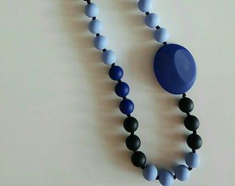 Stone necklace black/blue silicone nursing necklace Babywearing necklace